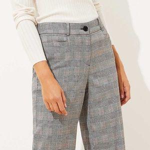 Loft tall plaid high waist wide leg trouser/black